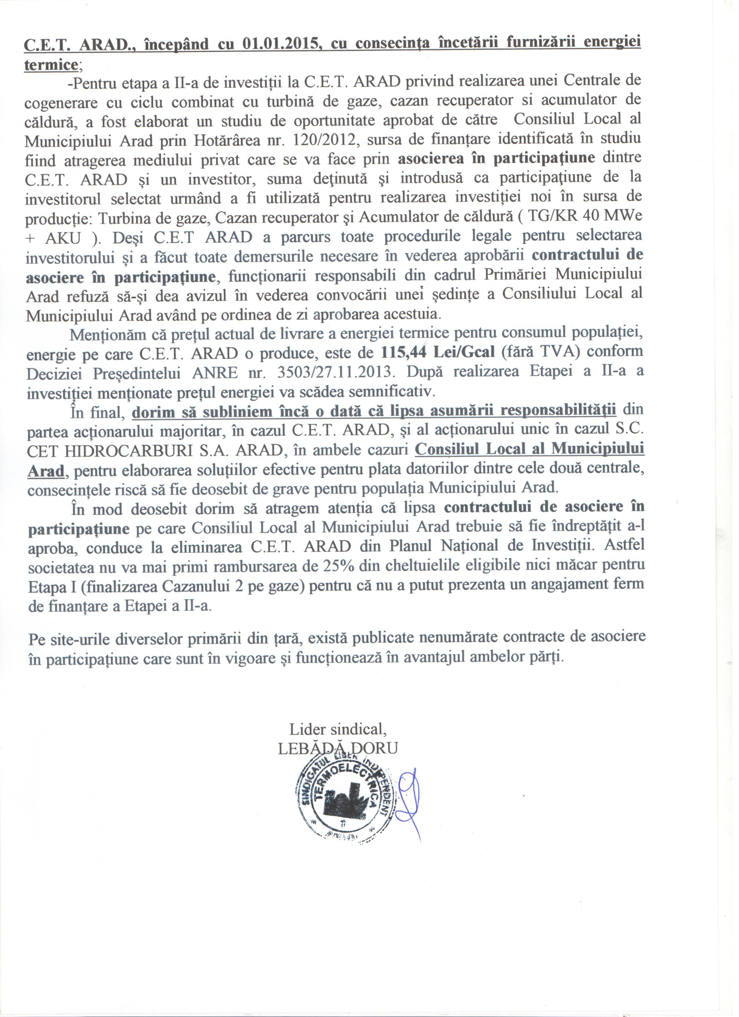 Comunicat sindicat CET 3