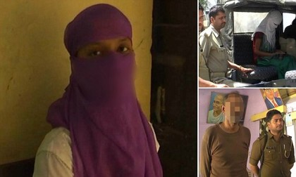 UTTAR PRADESH, INDIA- MARCH 22, 2016: Sarita Devi,18, (name changed) taken into the police custody for statement after her father Mahender Singh Jadaun, 53, sexually abused her for four years in Uttar Pradesh, India.  After being repeatedly raped by her father for four years, Sarita decided to film the crime so that she has a proof to show it to her mother who refused to believe her daughterís claims for all these years. Grabs Supplied by : Cover Asia Press