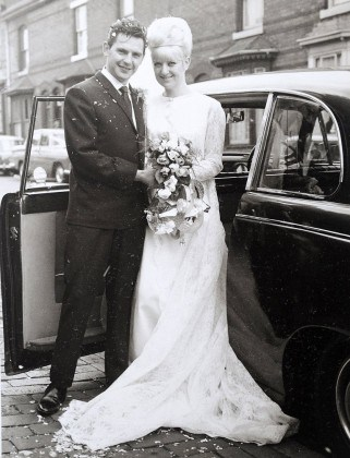 Golden wedding couple James and Carole-Ann Stanfield on their wedding day.  A couple found they are still the perfect fit after celebrating their golden wedding anniversary by donning their original outfits from their wedding day 50 YEARS ago.  See NTI story NTIGOLDEN.  Jim Stanfield, 74, and his wife Carole-Ann, 71,  tied the knot on October 1 ,1966 after meeting at a working men's club four years previously.  The couple's suit and dress from their big day have sat gathering dust in the attic of their home where they remained untouched for five decades.  But last week their granddaughter Hayley Stanfield, 23, suggested the couple tried them on again to commemorate their golden wedding anniversary.  And they were amazed to discover they both still fit perfectly 50 years later and the couple wore their outfits at a party with family and friends on Saturday (1/10).  Yesterday  (Thurs) Carole-Ann, who lives with Jim in Kingsbury, Warks., said: ìIt is amazing we still fit into our original outfits and even more amazing that we still have them.î