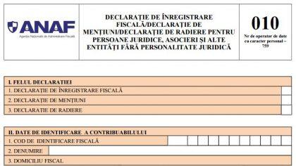 ANAF propune modificarea formularului 010