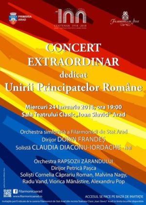 Concert extraordinar dedicat Unirii Principatelor Române cu Claudia Diaconu Iordache, Rapsozii Zărandului și ansamblul simfonic al Filarmonicii Arad