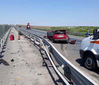 DEZASTRU pe autostrada Timișoara-Arad! A intervenit și elicopterul SMURD