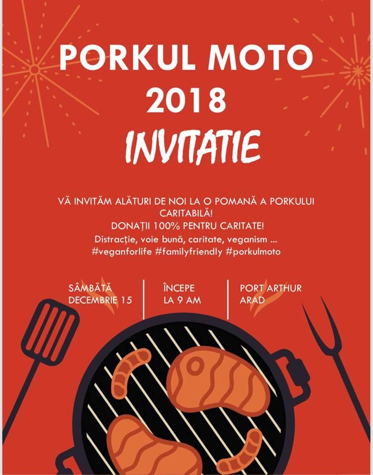 """Arădenii, invitați la o pomană a porcului CARITABILĂ, """"Porkul Moto 2018"""". Meniul garantat """"raw-vegan"""""""