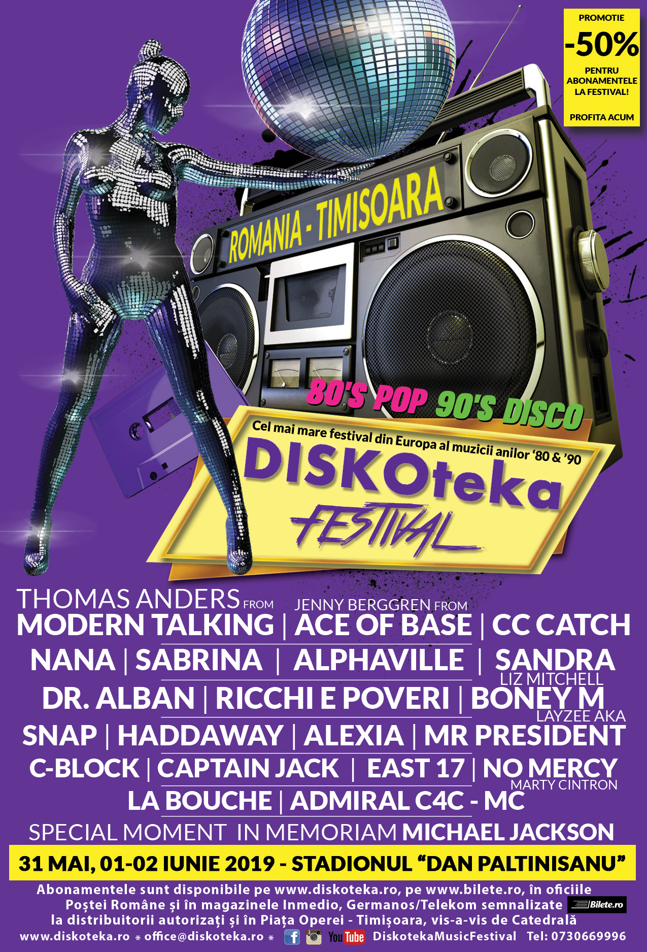 NEBUNIE, la Timişoara! 1.500.000 de euro buget pentru Diskoteka Festival! 50 de vedete ale anilor '80 – '90, 5 scene, trei zile de concerte pe stadion