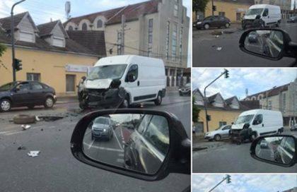 ACCIDENT în Arad. Ciculația, PARȚIAL BLOCATĂ pe o arteră importantă (FOTO)