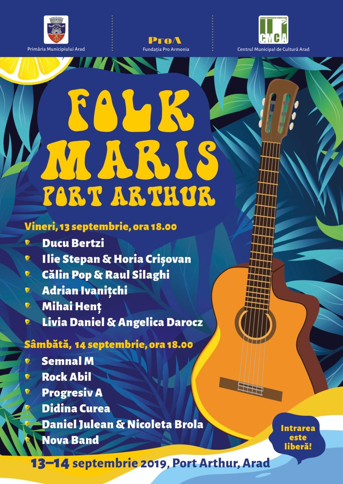 """Vești bune pentru iubitorii de FOLK! Nume mari vin la Arad la Festivalul """"Folk Maris"""""""
