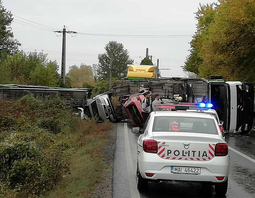 ACCIDENT grav pe DN7. Traficul este BLOCAT pe ambele sensuri