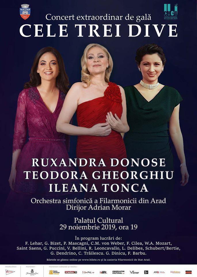 PREMIERĂ: Cele Trei Dive, pe scena Filarmonicii de Stat Arad, într-un concert de excepție