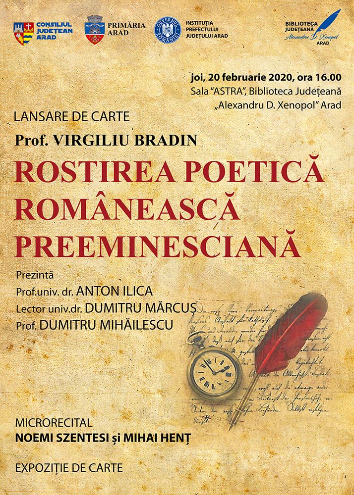 Maturizarea estetică a limbii române, prin ochii lui Virgiliu Bradin, la Biblioteca Județeană