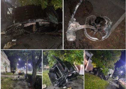 PRĂPĂD pe Calea Timișorii: Șoferul a FUGIT iar în mașină a fost găsită o sticlă de WHISKEY (FOTO)