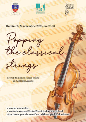 """Popping the classical strings"", recital online cu Cvartetul Adagio"