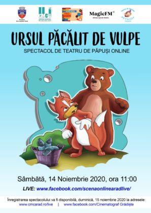 """""""Ursul păcălit de vulpe"""", spectacolul de la Teatrul de Păpuși, transmis online pentru cei mici și cei mari"""
