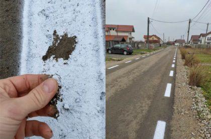 Pe asta se dau bani în județul Arad: Marcaje făcute pe un strat de noroi, nu pe asfalt