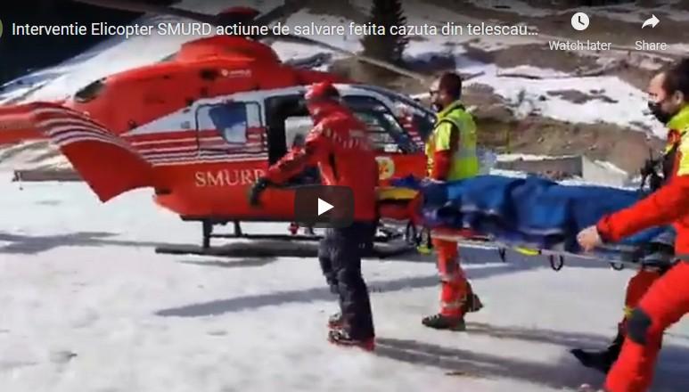O fetiță de 6 ani din Arad a căzut din telescaun la Sinaia, de la o înălțime de 8 metri