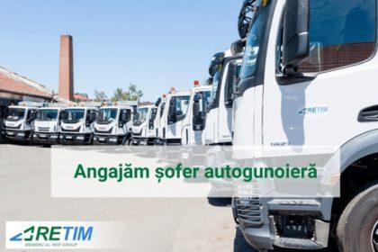 Compania RETIM angajează: ȘOFER AUTOGUNOIERĂ pentru Arad, Timișoara, împrejurimi
