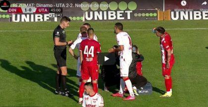 UTA a smuls un punct la Dinamo în zece oameni și după ce a fost condusă cu 2-0. VIDEO: Rezumat și declarații