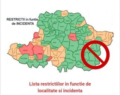 Restricțiile pentru fiecare localitate din județul Arad, la un click distanță